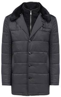 Утепленная куртка с отделкой мехом кролика и экокожей Al Franco