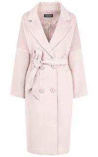 Полушерстяное пальто-халат на пуговицах и с поясом La Reine Blanche