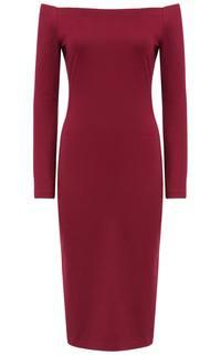 Бордовое платье с открытыми плечами La Reine Blanche
