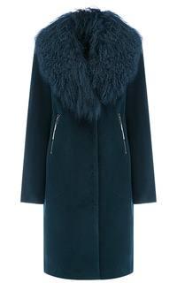 Шерстяное пальто с отделкой мехом ламы Элема
