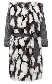 Пальто из меха лисы на трикотаже с поясом Virtuale Fur Collection
