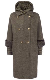 Утепленное шерстяное пальто с отделкой мехом сурка Martylo