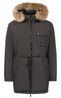 Куртка на натуральном пуху с отделкой мехом енота Urban Fashion For Men