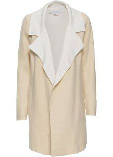 Двухстороннее вязаное пальто (песочно-бежевый/кремовый) Bonprix