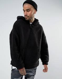 Оверсайз-худи черного цвета из искусственного меха Mennace - Черный