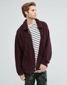 Свободная куртка Харрингтон из искусственной цигейки ASOS - Фиолетовый