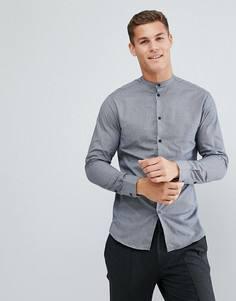Узкая рубашка в клетку с горловиной на пуговице Selected Homme - Серый