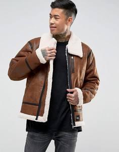 Светло-коричневая куртка оверсайз из искусственной овчины Sixth June - Рыжий