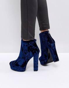 Бархатные ботинки на платформе ALDO Kasser - Синий