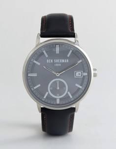 Часы с черным кожаным ремешком Ben Sherman WB071BB - Черный