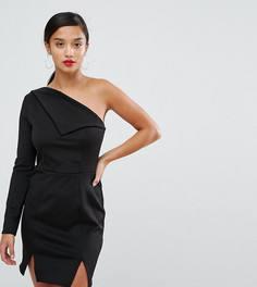 Платье мини на одно плечо с двумя разрезами ASOS PETITE - Черный