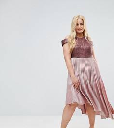 Плиссированное бархатное платье Coast Plus Delores - Розовый