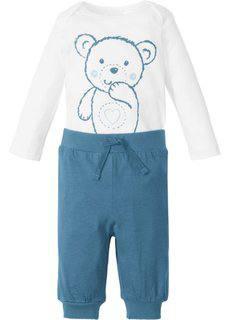 Для малышей: боди с длинным рукавом + трикотажные брюки (2 изд.), биохлопок (белый/синий джинсовый) Bonprix