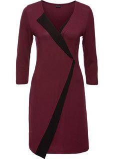 Трикотажное платье (темно-бордовый/черный) Bonprix