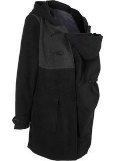 Для будущих мам: дафлкот с карманом-вставкой для малыша (черный) Bonprix
