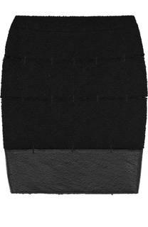 Буклированная мини-юбка с кожаной отделкой Tom Ford