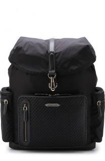 Текстильный рюкзак с клапаном и внешним карманом на молнии Ermenegildo Zegna