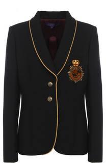 Жакет из смеси шерсти и шелка с контрастной отделкой Ralph Lauren