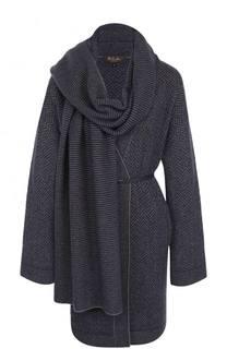 Пальто из смеси кашемира и шелка с поясом Loro Piana