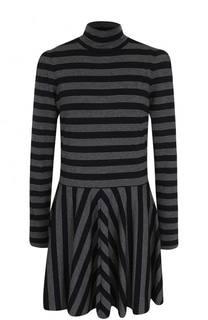 Мини-платье в полоску с воротником-стойкой Marc Jacobs