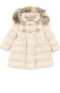 Пуховое пальто с меховой отделкой на капюшоне Ermanno Scervino