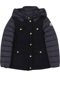 Пуховая куртка с отделкой из шерсти и капюшоном Moncler Enfant