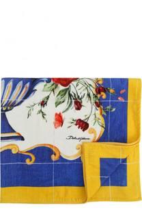 Хлопковое пляжное полотенце с принтом Dolce & Gabbana