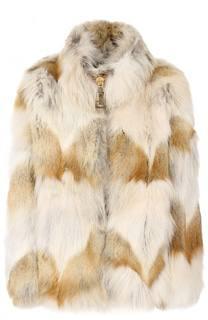 Укороченная шуба на молнии из меха койота Marc Jacobs