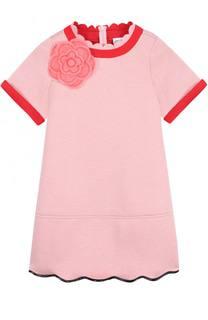 Мини-платье джерси с контрастной отделкой и брошью Simonetta
