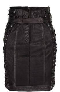 Кожаная мини-юбка со шнуровкой и поясом Balmain