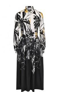 Шелковое платье-рубашка с принтом sara roka