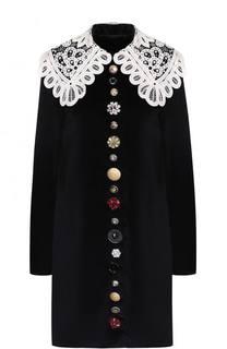 Бархатное мини-платье с контрастным кружевным воротником Dolce & Gabbana
