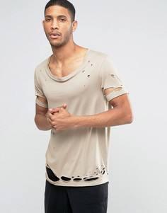 Удлиненная футболка с эластичной горловиной и прорехами ASOS - Бежевый