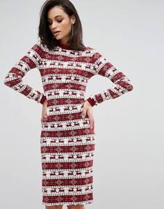 Драпированное новогоднее платье в рубчик с длинными рукавами Club L - Красный