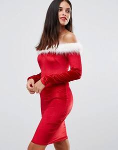 Новогоднее платье с широким вырезом и длинными рукавами Club L Sexy Santa - Красный