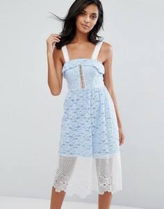 Платье миди из вышитого кружева и сетки River Island - Синий