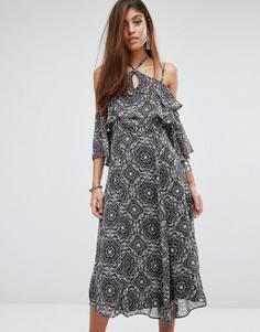 Платье миди с цветочным принтом и открытыми плечами River Island - Мульти