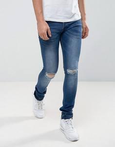 Зауженные выбеленные джинсы с развернутым краем Loyalty and Faith Manchester - Синий