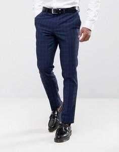 Синие брюки в клетку с добавлением шерсти River Island - Синий