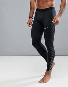 Черные спортивные леггинсы Nike Running Power Tech Flash 859268-010 - Черный