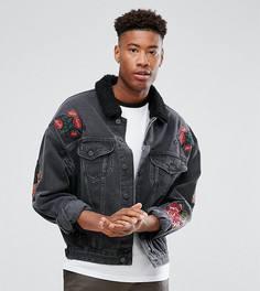 Выбеленная черная джинсовая куртка с вышивкой и воротником из искусственного меха ASOS TALL - Черный