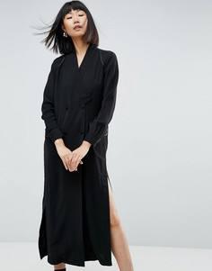 Платье-рубашка макси с разрезом ASOS WHITE - Мульти