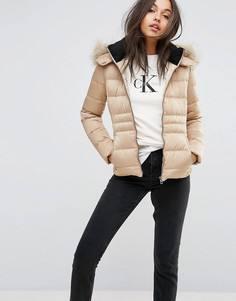Пуховая куртка с искусственным мехом на капюшоне Calvin Klein Jeans - Бежевый