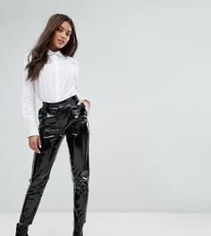 Виниловые брюки с завышенной талией Missguided - Черный