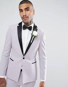 Бледно-лиловый супероблегающий пиджак-смокинг с атласными лацканами ASOS - Фиолетовый