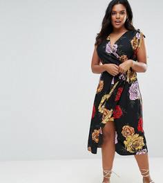 Платье с запахом и принтом River Island Plus - Мульти