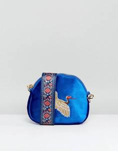 Сумка через плечо в форме полумесяца с вышивкой птицы Yoki - Темно-синий