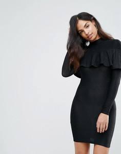 Блестящее платье мини с оборкой Club L - Черный