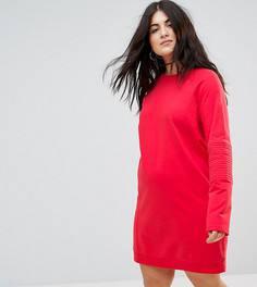 Трикотажное платье оверсайз со стеганой отделкой ASOS CURVE - Красный