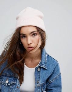 Бледно-розовая шапка-бини с вышивкой логотипа adidas - Розовый